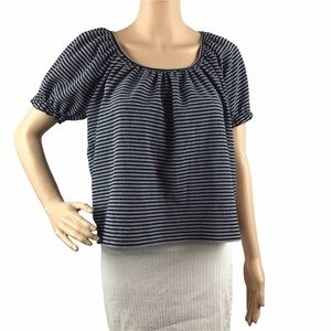 Madewell Texture & Thread Peasant Top in Stripe Navy White Size M Short Sleeve